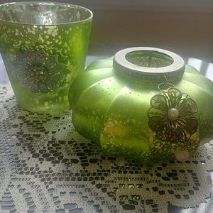 TWO GREEN CANDLE HOLDERS IN A BUNDLE